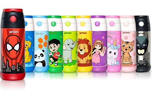 JARLSON® Trinkflasche Kinder - Thermo Edelstahl Wasserflasche 350ml - BPA frei - auslaufsicher - Kinderflasche mit Strohhalm - Flasche für Schule, Kindergarten, Fahrrad (Superheld rot 350 ml)