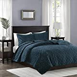 Madison Park Harper Quilt Set-Faux Velvet Casual Geometric Stitching Design All Season, Lightweight Coverlet, Cozy Bedding, Matching Shams, King/Cal King(104'x94'), Teal 3 Piece