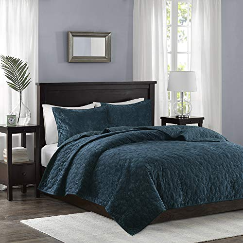 Madison Park Harper 3 Piece Coverlet Faux Velvet Solid Color with Geometric Double Sided Design Modern Luxe Quilt Hypoallergenic All Season Bedspread-Set Matching Shams, King/Cal King, Teal