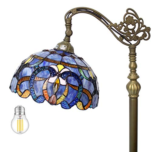 Tiffany Style Floor Lamp Reading Lighting W12H64 Inch (LED Bulb Included) Blue Purple Clouldy Stained Glass Crystal Lampshade Antique Adjustable Arched Base S558 WERFACTORY Lamps Bedroom Living Room