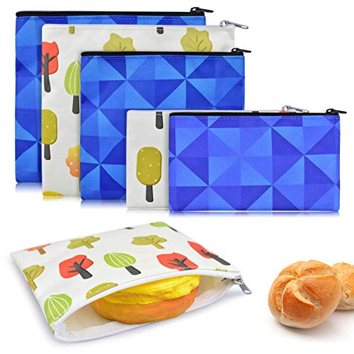 ERKOON 6 Pack Reusable Sandwich Bags Snack Bags Washable Lunch Bags Set with Zipper Includes 2 Large 2 Medium 2 Small Reusable Food Bags