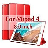 Funda para Xiaomi Mi Pad 4 8.0 Pulgadas Funda de Silicona Inteligente Magnetic Auto Sleep PU Funda de Cuero para Xiaomi Mi Pad4 / Mi Pad 4-Rojo
