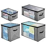 mDesign Juego de 4 cajas organizadoras de tela de distintos tamaños – Prácticas cajas para guardar ropa y ropa de cama – Sistema de almacenaje con cremallera y ventana – gris/negro