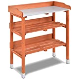 S AFSTAR Outdoor Potting Bench Table, Wooden Garden Work Station with Open Shelves and Hanging Hooks, Fir Wood Construction and Meal Tabletop