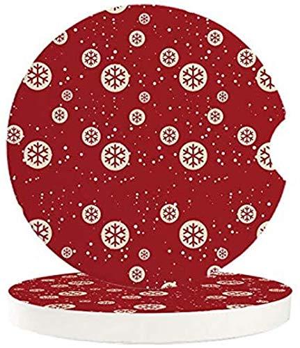 Juego de 4 posavasos absorbentes para coche, diseño de copo de nieve, decoración de bola de cerámica absorbente con muesca de dedo para posavasos de auto fácil extracción, accesorios de coche