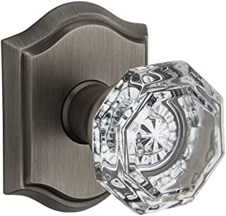 Baldwin Passage Crystal Knob with Traditional Arch Rose PSCRYTAR152