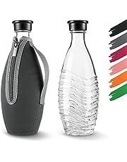 Siegvoll Fles beschermhoes ALLEEN voor SodaStream Crystal glazen fles - flessenhoes van neopreen voor glazen karaf buiten - flestas beschermt tegen krassen