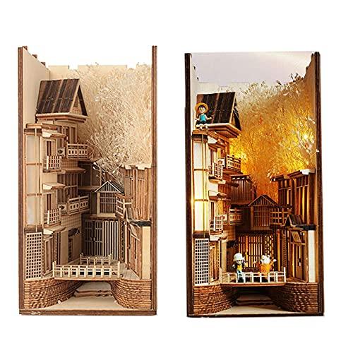 Estantería de madera Sujetalibros de arte Decoración de bricolaje Estantería Lámpara japonesa Modelo de regalo Kit de construcción Empalme creativo, Viene con luces y herramientas (Soporte de libro c