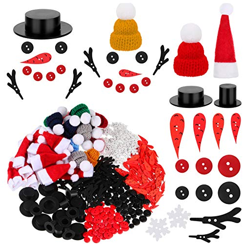 420 Pieces Christmas DIY Snowman Ornament Set Includes Carrot Nose Button, Mini Black Magician Hat, Red Black Buttons, White Snowflake Buttons, Snowman Arms, Snowman Hat, Mini Knit Hat for Xmas Decor