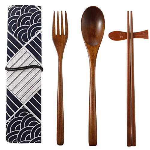 QINREN Wooden Tableware Set, Japanese Style Wooden Cutlery Flatware Reusable Travel Tied Line Utensils (1 Spoon, 1 Chopsticks, 1 Fork, 1 Chopsticks Holder, 1 Tableware Bag) for Family Travel