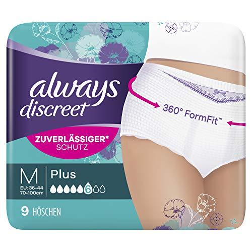 Always Discreet Inkontinenz Pants Gr. M (9 Höschen) Plus, Diskreter Schutz & Hohe Saugstärke, Geruchsneutralisierend