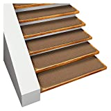 House, Home and More Set of 15 Skid-Resistant Carpet Stair Treads - Toffee Brown - 8 Inches X 27 Inches