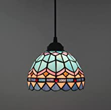 Mini Pendant Lighting Antique Tiffany Style Ceiling Pendant Fixture with Blue Multi-Colored Glass Chandelier for Dining Ro...