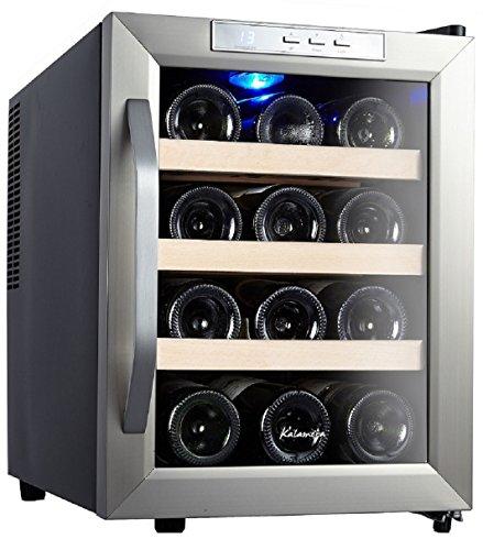 Kalamera KR-12ASS Edelstahl Weinkuehlschrank 33 Liter 12 Flasche Weinklimakuehschrank Minibar Freistehend Temperaturzonen 8-18\'C