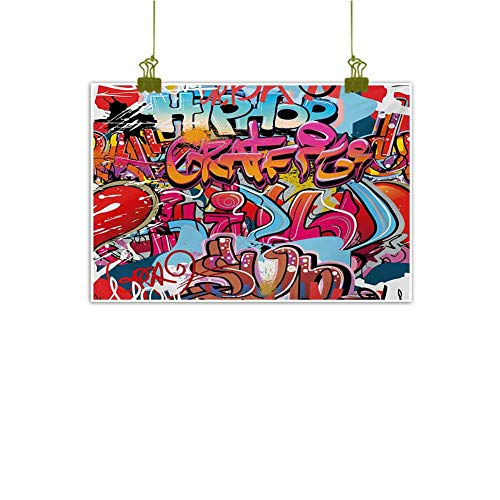 "Mannwarehouse Graphic Abstract Painting Hip Hop Street Culture Harlem New York City Wall Graffiti Art Spray Artwork Image Natural Art 28"" Wx20 L Multicolor"