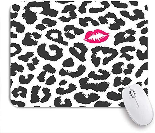 Dekoratives Gaming-Mauspad,Leopard Cheetah Animal Print mit Kussform Lippenstift Mark Dotted Trend Art,Bürocomputer-Mausmatte mit rutschfester Gummibasis