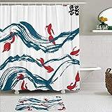 KISSENSU Cortinas con Ganchos,Pez Rojo en el Agua y los Caracteres Chinos simbolizan la Felicidad y la alegría Pintura,Cortina de Ducha Alfombra de baño Bañera Accesorios Baño Moderno