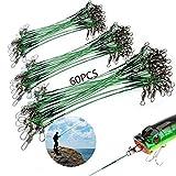 YSTJKD Cable del Líder Pesca Alambre La Línea del Lider Línea Líder De Pesca 60 Pcs Anzuelos Pesca Líder Acero Línea Principal Pesca con Gira y Broches para Pesca Al Aire Libre 18 25 33cm Verde