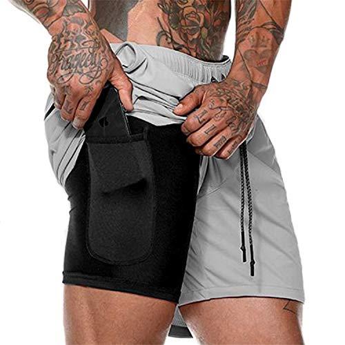 JinJ Pulseras Cortos de Ejecución de los Hombres 2 en 1 Deportes Jogging Fitness pantalones Cortos de Entrenamiento de Secado Rápido para Hombre Pantalones Cortos Deportivos Gimnasio -  Gris -  X-Large