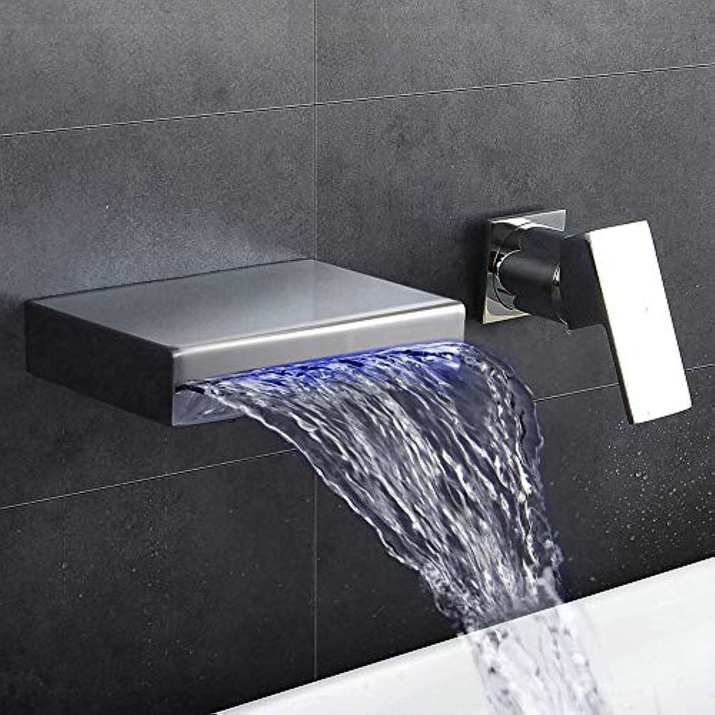 LH-Wasserhahn:Moderne Art déco Retro Modern Wandmontage Wasserfall Thermostatische LED Messingventil Zwei Lcher Einzigen Handgriff Zwei Lcher Chrom,
