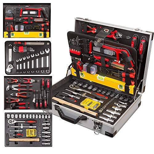 nxtbuy Werkzeugkoffer Optimus 119-teilig Premium Aluminium Werkzeugtrolley - umfangreiches Werkzeug-Set im stabilen Alu-Koffer - perfekt für Haushalt, Garage, Werkstatt