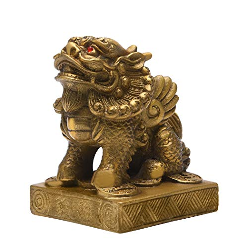 Feng Shui Brass Kirin Kylin Statue Pi Yao 3.5(H) Dragon Avatar Figurine for Wealth Luck Prosperity Protection Home Decor Sculpture Gift Collection PTZY011