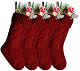 Kunyida Pack 4, Unique Burgundy and Ivory White Knit Christmas Stockings 14'