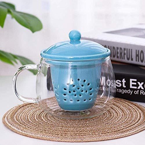 GZCC Tasse Tasse Cadeau créatif Tasse à café en Verre avec Filtre à thé en céramique et Couvercle Fleurs d'eau Cadeau de Tasse de thé pour Femmes et Hommes Rose Blanc Bleu 400 ML,Couvercle Blanc