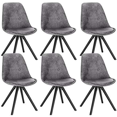 WOLTU® BH268dgr-6 6 x Esszimmerstühle 6er Set Esszimmerstuh, Sitzfläche aus Stoffbezug, Design Stuhl, Küchenstuhl, Holzgestell, Antiklederoptik Dunkelgrau