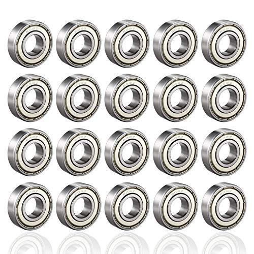 PUPOUSE 608ZZ Kugellager 20 Pack 608zz Metall Double Shielded Miniatur Rillenkugellager für Skateboard Roller Inline Skates, 8mm x 22mm x 7mm