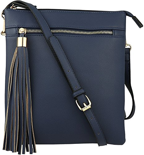 B BRENTANO Vegan Double-Zip Pocket Crossbody Handbag Purse wih Big Tassel Accent (Navy)