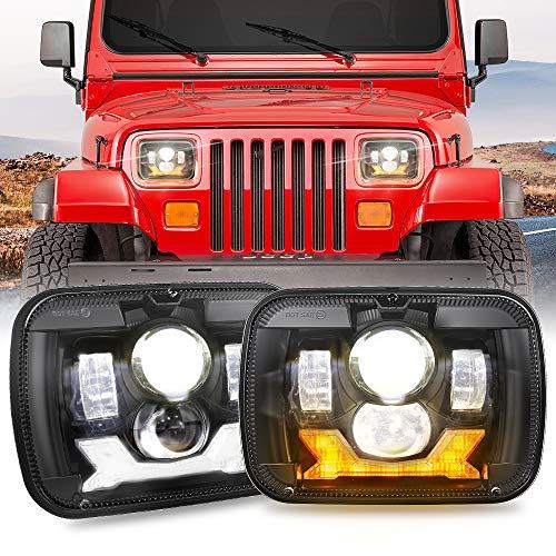 5x7 Inch Led Headlights 7x6 Led Headlamp W Amber Turn Signal White DRL Sealed Beam HeadlIghts H6054 6054 Led Headlight Competible with Wrangler YJ Cherokee XJ H5054 H6054LL 6052 6053