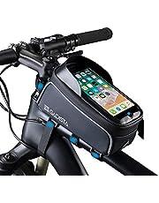 GADISTA® Francja, nowość torba na ramę roweru na telefon komórkowy (6,5 cala) z uchwytem na telefon komórkowy z funkcją Touch ID, wodoszczelna torba rowerowa z miejscem do przechowywania dzięki 4 szybkim zapięciom na rzepy