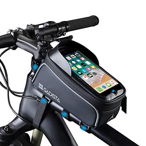 GADISTA® France, Sacoche Cadre de Velo pour téléphone Tactile avec ou sans Touch ID (Jusqu'à 6.5'). Support Telephone Velo étanche. Sac de vélo, Pochette Waterproof pour Velo avec 4 Velcros