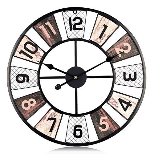 Lafocuse Reloj de Pared Grande Salon 60 cm Molino de Viento Negro...