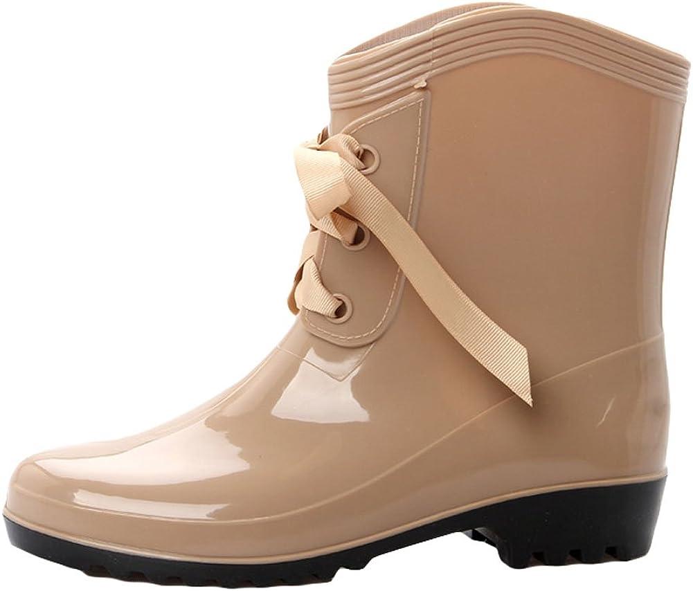 King Ma Women's Waterproof Bowknot Lace-up Mid-Calf Rain Boots