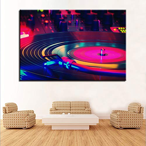 zzlfn3lv Decoración para el hogar Arte Sin Marco Modular Cartel Sala de Estar 1 Panel Música Placa giratoria Impresión HD Pintura Moderna de la Lona Imagen 1 50x75cmx1pcs