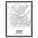 Aalborg Dänemark Karte Wandkunst Leinwand drucken Poster