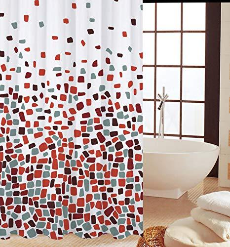 KAV hoge kwaliteit polyester stof douchegordijn en meeldauw bestendig gordijn 180 x 180 cm (71 x 71 inch) tegels patroon (Choose kleur van Drop Down menu) (rood mozaïek, 1), maatregelen