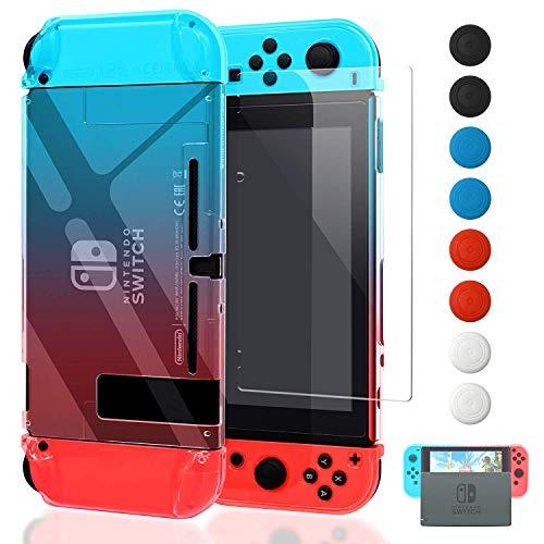 FYOUNG Dockable Hülle für Nintendo Switch mit Displayschutz, Transparent Schutzhülle mit Schutzfolie und Griff Cover Case für Switch und Joy-Con Controller (Rot und Blau)