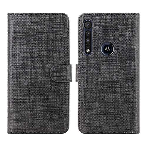CRESEE Motorola One Macro Hülle, PU Leder Schutzhülle mit 3 Kartenfächer, Hülle Tasche Magnetverschluss Flip Cover Standfunktion Stoßfest Brieftasche Handyhülle für Moto One Macro (Schwarz)