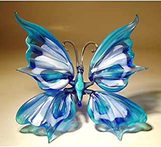 Light and Dark Blue Glass Butterfly Figurine