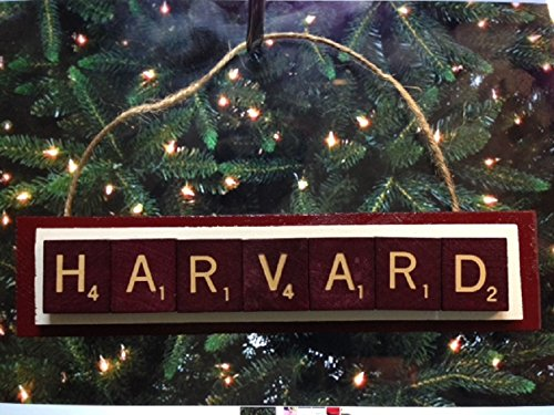 Harvard Quantity limited Scrabble Tiles Ornament Wood Excellence Handmade Christmas Holiday