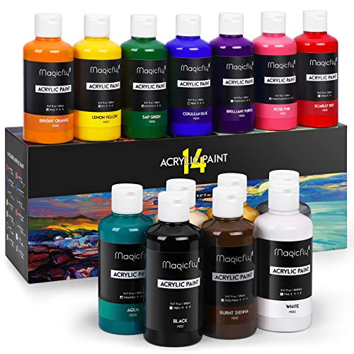 Magicfly Bulk Acrylic Paint Set, 14 Rich Pigments...