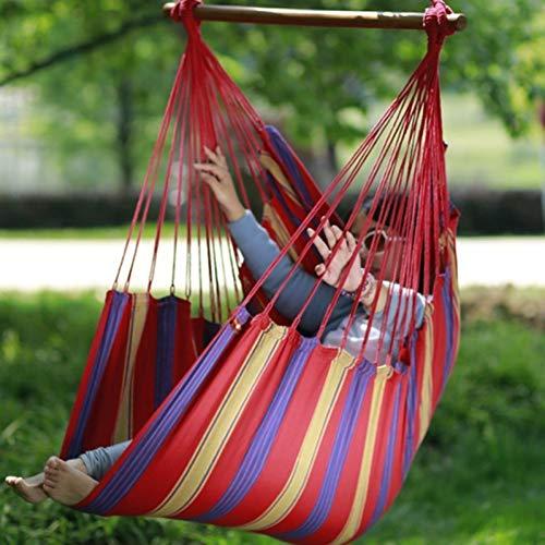 DCKJL hangmat Outdoor Hangstoel Hangmat Met Sterke Houten Stok Voorkomen Rollover Duurzame Swing Canvas Mensen Relax Draagbare Stoel