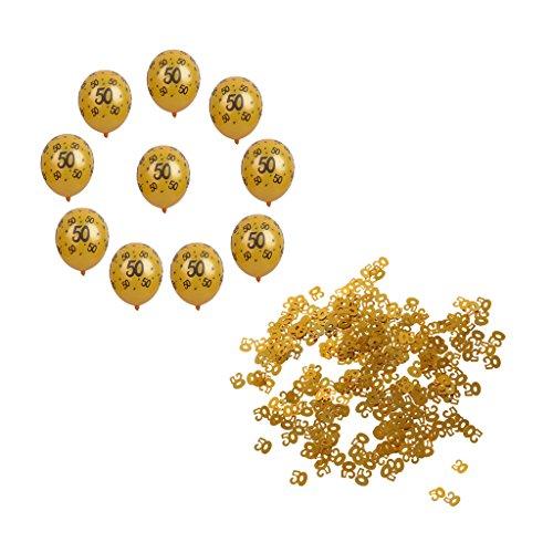 Blesiya Confettis 50 ans + Ballons Latex Ovale Fête Anniversaire Mariage Motif Créatif Cadeau Décorations