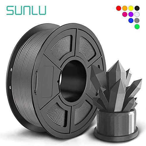 SUNLU PLA+ Filament 1.75mm for 3D Printer & 3D Pens, 1KG (2.2LBS) PLA+ 3D Printer Filament Tolerance Accuracy +/- 0.02 mm, Grey