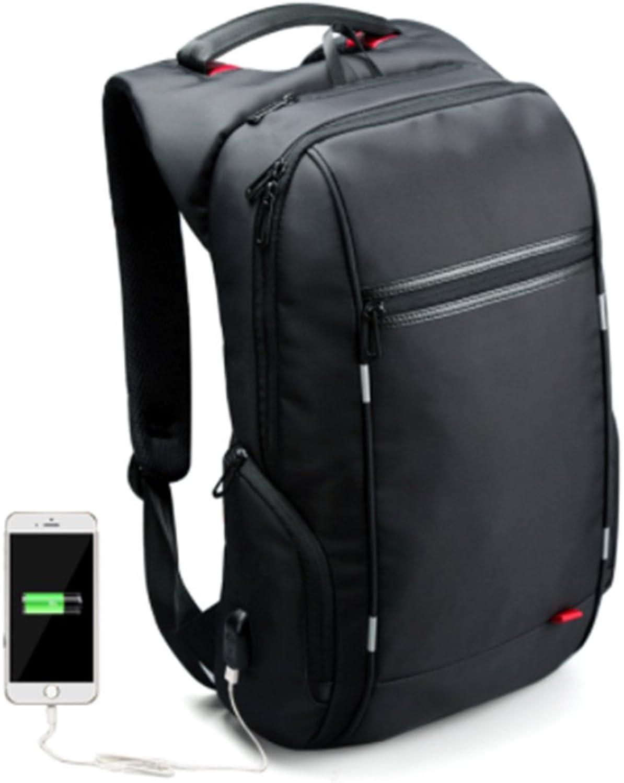 15.6'' Laptop Backpack External USB Charge Antitheft Computer Backpacks Male Waterproof Bags (Black-B model)