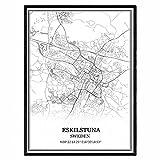 Eskilstuna Suecia Mapa de pared arte lienzo impresión cartel obra de arte sin marco moderno mapa en blanco y negro recuerdo regalo decoración del hogar