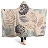 Fleece Wearable Hooded Blanket Amazing Forest Leafs Soft Cozy Fuzzy Plush Kids Blankets Hoodie Microfiber Throw Wrap Cloak Cape for Couch Sofa Chair Fall Nap Travel Kids/Baby